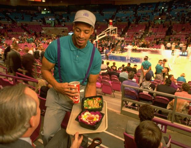 Madison Square Garden food vendor serving customer