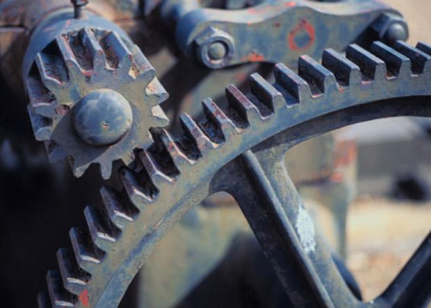 machine gears close up