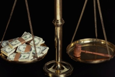 scales f justice, gavel, money