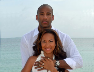 Dahntay Jones with his wife Valeshia Butterfield