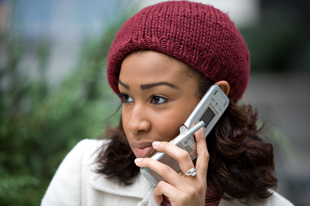 Black girl on phone