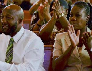 trayvon martin parents in church
