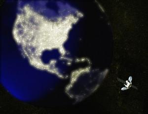 Satellite above North America (Digital Composite)