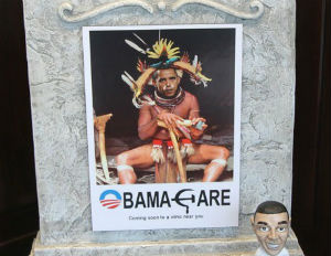 Shopkeeper Stirs Controversy With Image of Obama as Witch Doctor