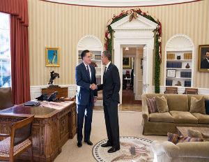 obama romney shaking hands white house