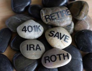 """stones that read """"IRA,"""" """"401K,"""" """"Roth,"""" """"Retire,"""" and """"Save"""""""