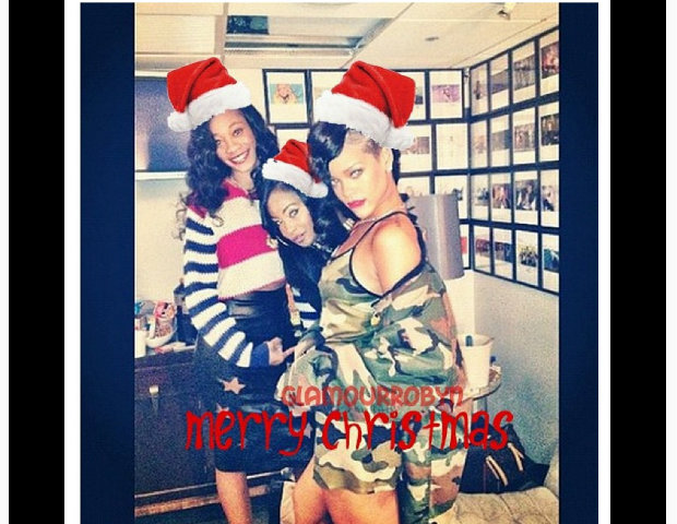 Rihanna dresses in her Santa costume.