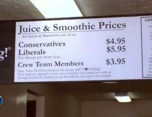"""Smoothie Shop Owner Charges """"Liberals"""" More in Store"""