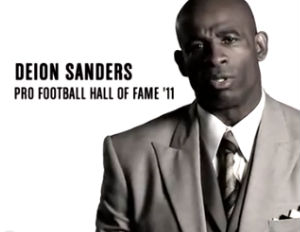 deion sanders black and white picture
