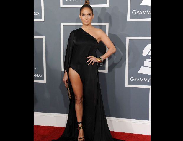Jennifer Lopez rocks the red carpet at the 2013 Grammy's.