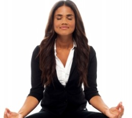 woman in black suit meditating