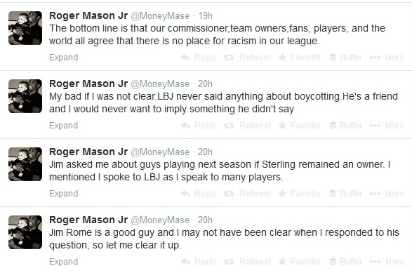 Roger Mason Jr backtracks over LeBron boycotting