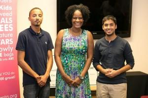 Dionne Mahaffey (Awesome Foundation) with George Pettigrew and Jason Bapna (Charitable.org)