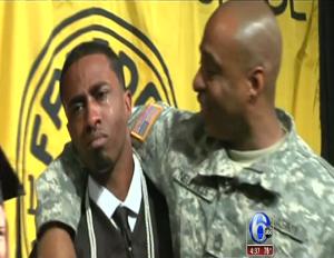 Soldier Surprises Son at High School Graduation