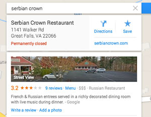 Google Maps Serbian Crown