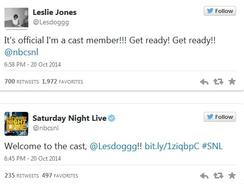 Tweets from Leslie Jones and Saturday Night Live