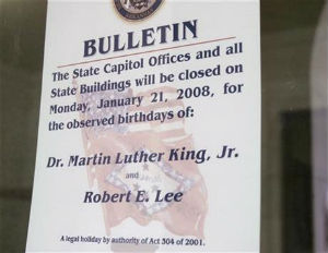 Three States Make MLK Day a Joint Holiday with Leader of the Confederate Army