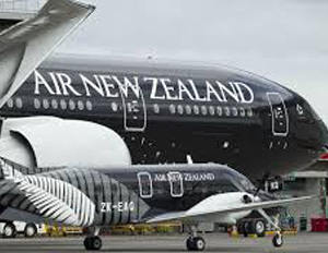 picture of an Air New Zealand plane on a runway