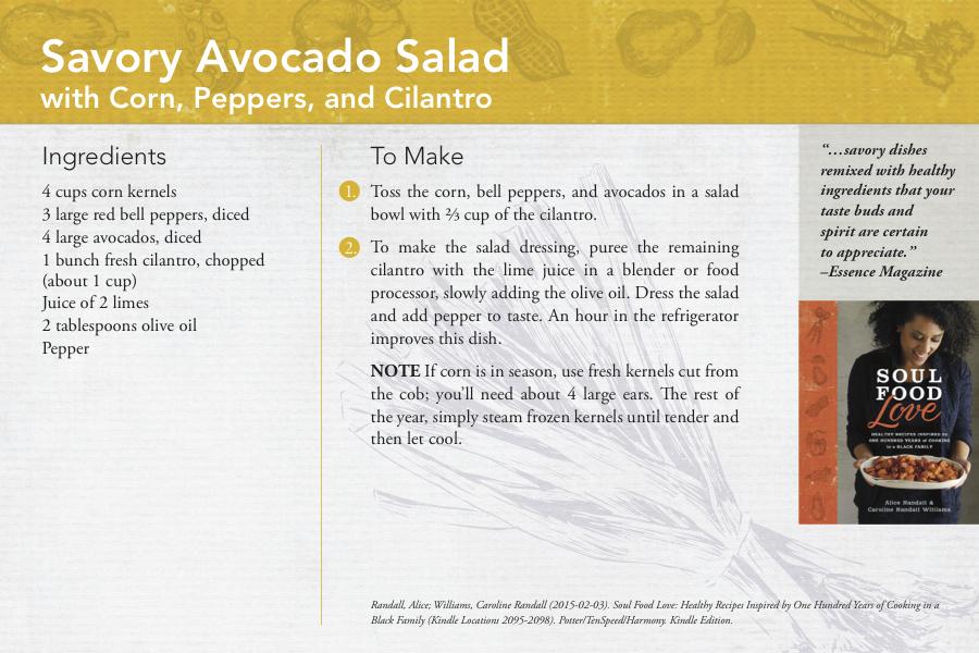 Alice and Caroline Randall Avocado Salad Recipe Card