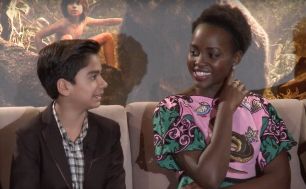 """""""Mother"""" and """"son."""" Neel Sethi (l) who played Mowgli and Lupita Nyong'o, the voice of Mowgli's wolf mother Raksha."""