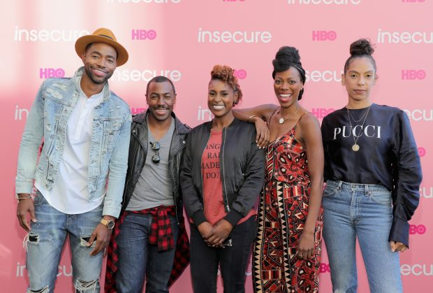 BROOKLYN, NY - SEPTEMBER 25: (L-R) Jay Ellis, Prentice Penny, Issa Rae, Yvonne Orji, and Melina Matsoukas attend HBO's 'Insecure' Block Party on September 25, 2016 in Brooklyn City. (Photo by Neilson Barnard/Getty Images for HBO)