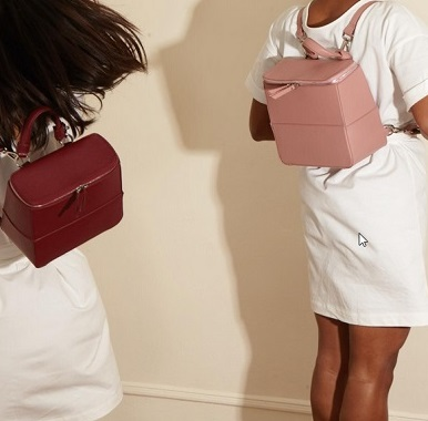 Portmore backpack in burgundy and nude pink.