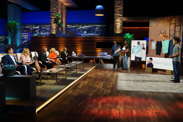 "SHARK TANK - ""Episode 902"" - A graphic designer and a patent attorney from Olympia, Washington, have a high-tech way to make children's story time more magical, but the Sharks are skeptical of their business model; a father from Madison, Wisconsin, has a brand of functional paternity clothing for new dads; parents from Salem, Utah, bring in their five daughters to showcase a solution to hairy drain problems in the shower and bathtub; and a former pro football player and his business partner pitch a better version of a workout device, on ""Shark Tank,"" airing SUNDAY, OCTOBER 29 (9:00-10:00 p.m. EDT), on The ABC Television Network. (ABC/Eric McCandless) MARK CUBAN, SARA BLAKELY, KEVIN O'LEARY, LORI GREINER, DAYMOND JOHN, ANDREW BENTLEY (FATHER FIGURE)"