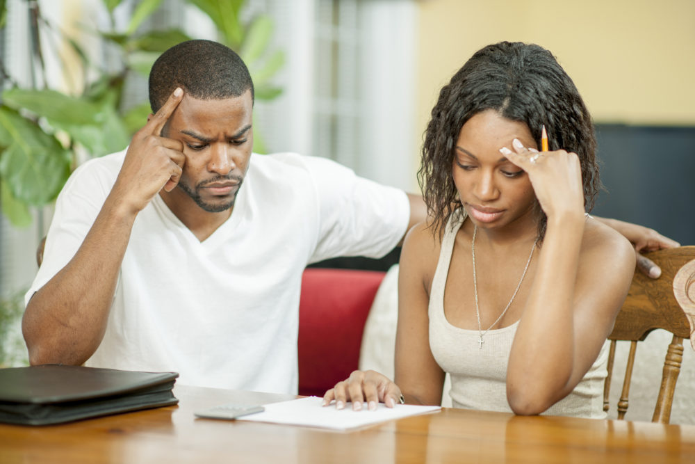 couple, husband and wife, worried, stress, bills