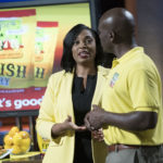 """SHARK TANK - """"Episode 908"""" - Husband and wife entrepreneurs from Atlanta, Georgia, introduce the Sharks to their famous seafood breading mix business; an entrepreneur from Birmingham, Mississippi, provides pets and their owners a way to communicate with one another with her invention; a re-engineered bathrobe for today's man and for those men who wouldn't be caught dead in one is presented to the Sharks by an entrepreneur from Roslyn, New York; entrepreneurs from San Diego, California, inform the Sharks on what every man with long hair needs to know and have in their life, on """"Shark Tank,"""" SUNDAY, JAN. 14 (9:00-10:00 p.m. EST), on The ABC Television Network. (ABC/Eddy Chen) MARANDA DOWELL, JOE DOWELL (JOE'S GOURMET FISH FRY)"""
