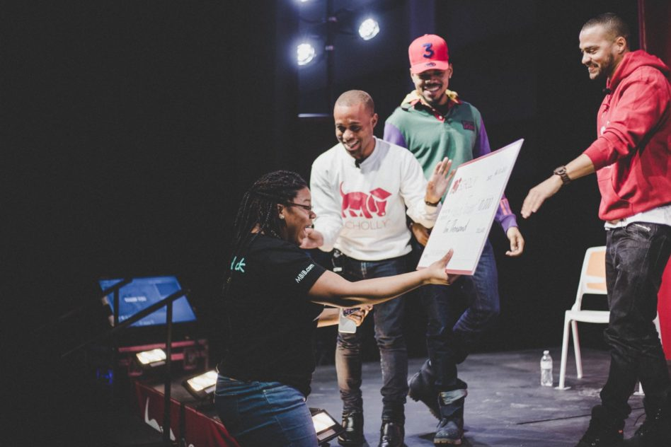 Scholly Scholarship Summit: Christopher Gray, Chance the Rapper and Jesse Williams presenting Alexia Frasier with $10,000 scholarship check