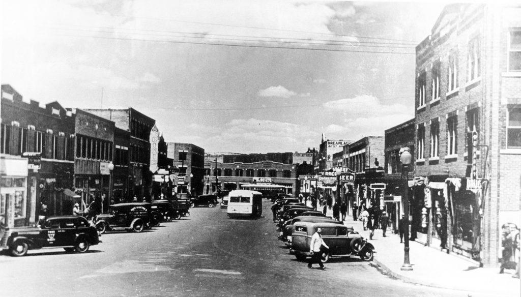 Black Wall Street - Dream Tulsa - Archer at Greenwood looking north 1938