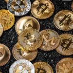 Stack of cryptocurrencies. PopShop