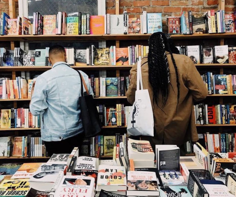 Shoppers at Marcus Books