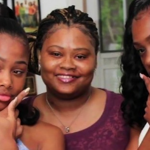 Khaliyah and Aaliyah White with their mother