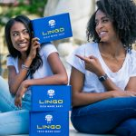 Aisha Bowe, left, founder and CEO of STEMBoard, and Danielle Regis, director of product of LINGO