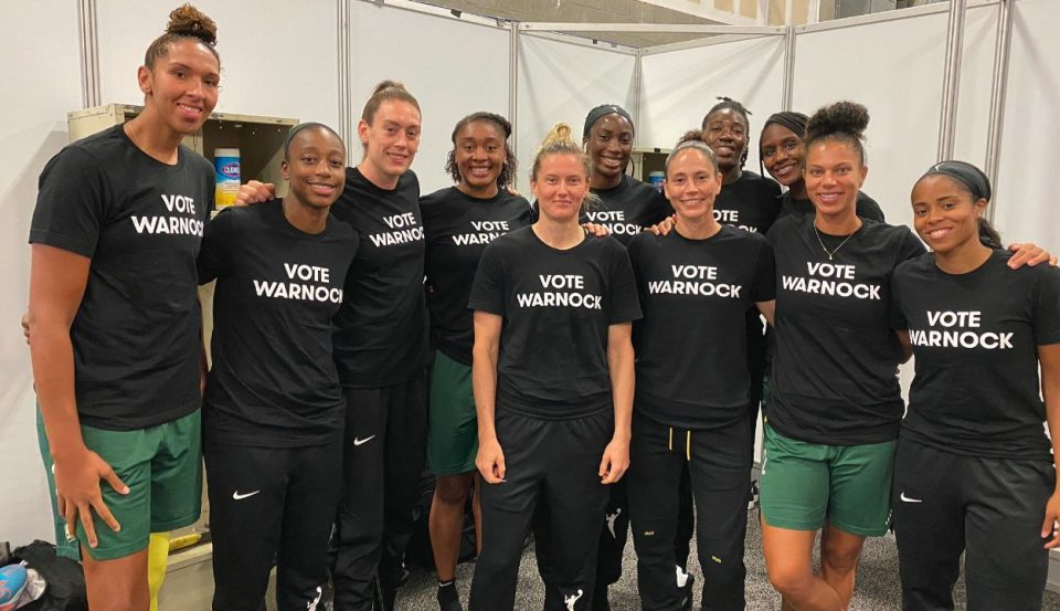 WNBA Players Show Support for Atlanta Dreams Owner's Political Opponent By Wearing 'Vote Warnock' T-Shirts