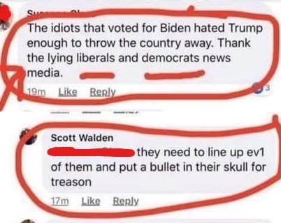 Alabama Police Captain Says Biden Voters Need 'A Bullet In Their Skull For Treason'