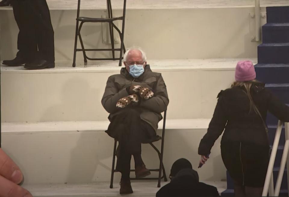 senator Bernie Sanders sweatshirt viral inauguration