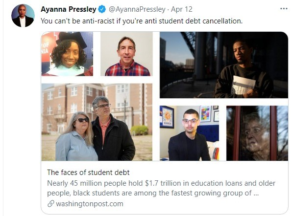 Congresswoman Ayanna Pressley Continues to Push for Student Loan Debt Cancellation up to ,000