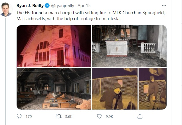 Man From Maine Charged with Hate Crime, Alleged Arson of Black Church