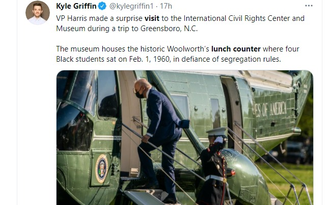 Vice President Kamala Harris Visits Woolworth's Lunch Counter Where Greensboro Four Made History