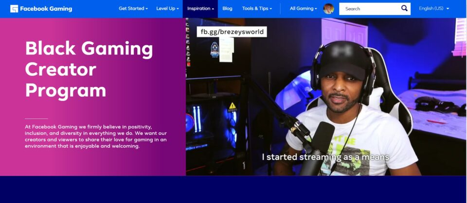 Facebook Black Gaming Program (screenshot)