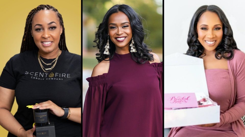 Three Black women business owners won $50k at Capital One's Black Girl Magic Pitch Competition (Scent & Fire/Courtesy of Jacquelyn Rodgers/Bridal Babes)